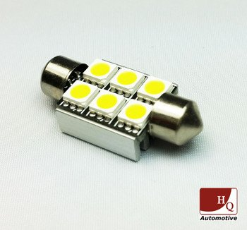 C5W 6 LED Bulb SMD-5050 Sink (39MM)  CanBus GREEN