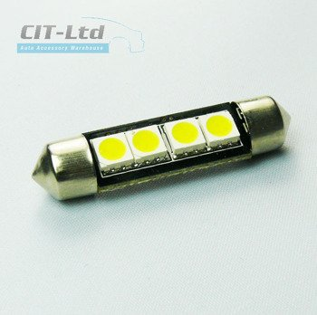 Car LED Light Bulb C5W 4x  SMD-5050 42mm BLUE