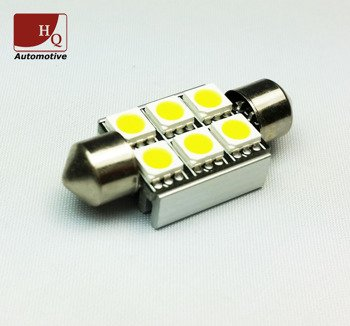 Car LED Light Bulb C5W 6x  SMD-5050 Festoon 36mm CanBus GREEN