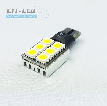W5W (501) T10 6 LED Bulb SMD-5050  CanBus YELLOW